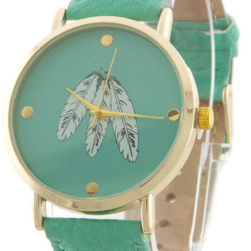 Mint Feather Accent Watch