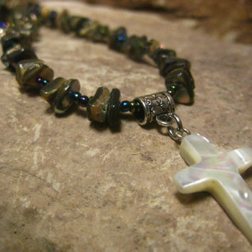 Cross Pendant Paua Shell Abalone Necklace, Trochus Shell Cross Pendant Necklace with Paua Shell Abalone, Gifts for Her, Christian Jewelry