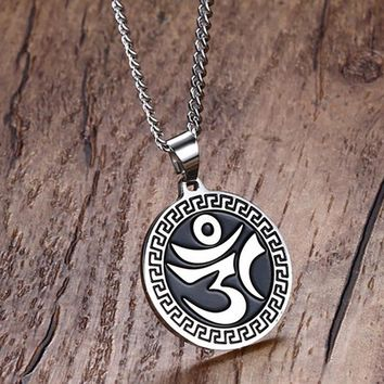 Unisex Stainless Steel OM Mantra Pendant with Necklace