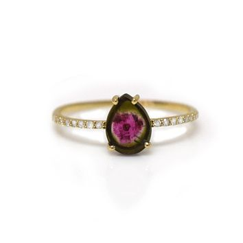 14kt Gold Watermelon Tourmaline & Diamond Frise Ring