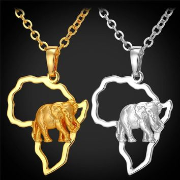 Collare African Map Elephant Necklaces