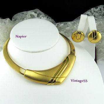 Napier Collar Necklace Earrings clip on Gold tone