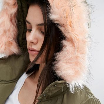 Noisy May Petite Contrast Fur Bomber