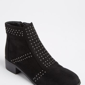 Black Faux Suede Studded Bootie