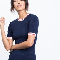 Sporty Striped Tee Dress