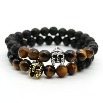 Antique Silver Plated Spartan Warrior Gladiator Helmet Bracelet Men Beaded Natural Tiger Eye Stone Bracelets Men Jewelry
