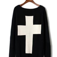 Cross Print Black Sweater