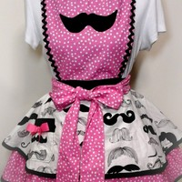 Mustache Apron, Womens Mustache Flirty Apron, Aprons, Kitchen Apron, Pin Up Apron, Sweetheart Apron