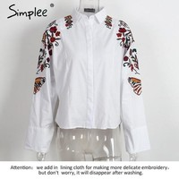 Embroidery Casual White Shirt Tops