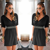 Black Deep V-Neck Elastic Waist Dress  B0015262