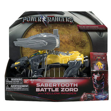 Mighty Morphin Power Rangers Movie Action Figure - Sabretooth Battle Zord with Yellow Ranger