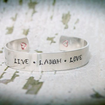 LIVE LAUGH LOVE handstamped bracelet. personalized cuff bracelet. handstamped jewelry