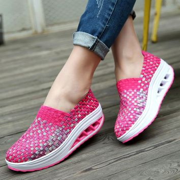 2018 Summer Women's Breathable Sport Shoes Height Increasing Outdoor Sandals Female Woven Slimming Walking Sneakers by Hand