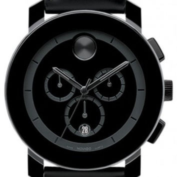 Movado Bold Large Black Chronograph 43.5mm Leather Watch 3600089