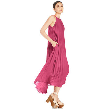 Watermelon Red Chiffon Halter Pleated Maxi Dress