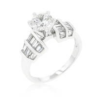 Tapered Baguette Cubic Zirconia Engagement Ring, size : 06