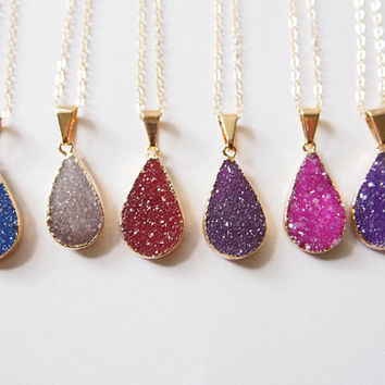 Candy Color Teardrop Agate Druzy Gold Filled Necklace Teardrop Drusy Pendant