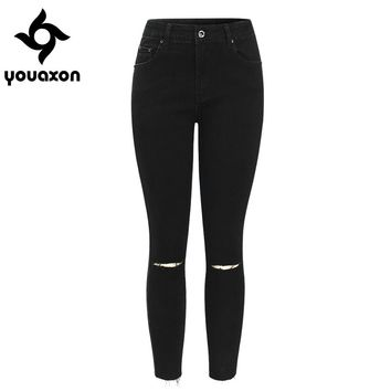 2104 Youaxon Black Ripped Knees Cropped Jeans Women Mid Waist Stretchy Denim Pants Trousers For Woman Pencil Skinny Torn Jeans
