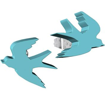 Turquoise Acrylic Birds in Flight Stud Earrings