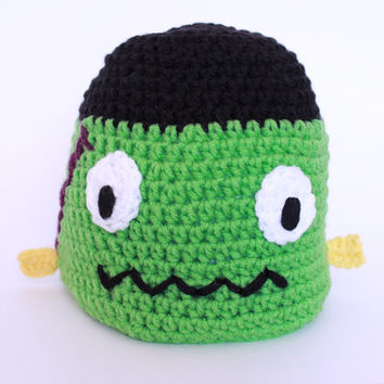 Frankenstein crochet beanie/ Halloween crochet hat/ green monster costume