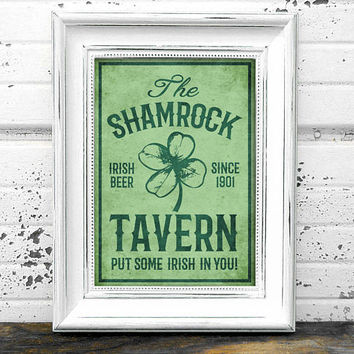 St Patricks Day Bar Sign// Shamrock Print // Instant Download A4 Printable Shamrock Beer Tavern Sign // Home Decor // Prints // Irish Art