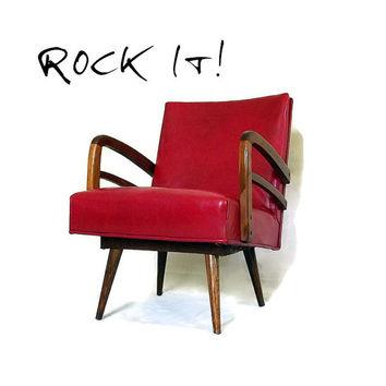 Vintage Mid Century Modern Chair - Vinyl and Wood - Platform Spring Rocker - Atomic - Red - Tapered Legs - 1950s Furniture
