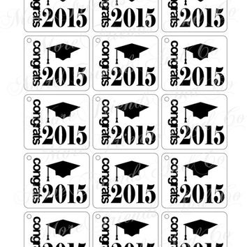 Graduation DIY Tags Congrats 2015 Digital Download Graduation Cap Congrats