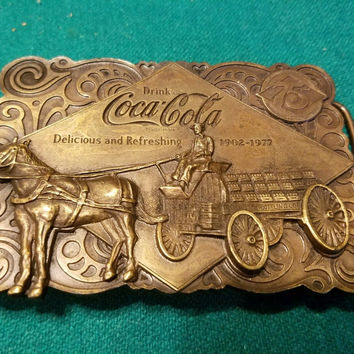 VINTAGE 1976 COCA-COLA BRASS BELT BUCKLE COKE 75TH ANNIVERSARY W/ BOTTLE OPENER!