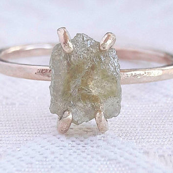 Raw Yellow Diamond Engagement Ring - Rough Diamond Stacking Ring - Uncut Diamond Ring - Hammered Ring