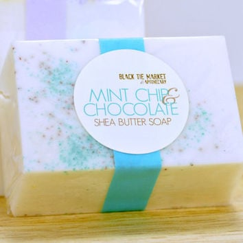 Mint Chip + Chocolate Ice Cream Scented Soap Bar / Handcrafted Moisturizing Shea Butter Jojoba Beads / Party Social Sprinkles Gift / 4.5oz