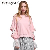 TWOTWINSTYLE 2017 Korean Lace Beading Long Sleeve Female Sweatshirts Hoodies for Women's Pullover Clothes Korean Pink Fashion