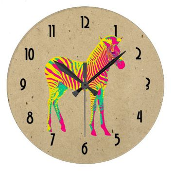 Neon Baby Zebra Psychedelic Pink Yellow & Green Large Clock