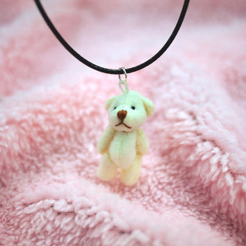 White Bear Necklace, Teddy Bear Choker, Plush Bear Kawaii Jewelry, Pastel Goth Clothing, Kawaii Necklace, Harajuku Fairy Kei Kitsch Necklace