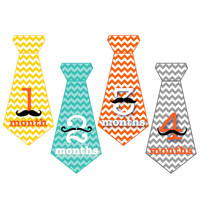 Baby Tie Stickers...Chevron and Mustache Onesuit Stickers for Baby Boys...Favorite Baby Shower Gift...Photo Prop...Fast Shipping