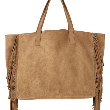 TOTO FRINGE LEATHER TOTE-bark-leather-one