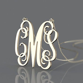 """Monogram necklace,1"""" 1.25"""" 1.5''  inch Personalized Monogram,925 Sterling silver 18k Gold Plated,name necklace, monogram necklace"""