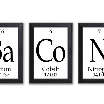"""Bacon Periodic Table Framed 3 Piece Wall Plaque Set Each Plaque 5"""" x 7"""""""