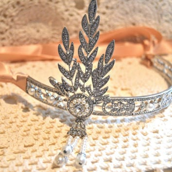 Great Gatsby Headpiece, Daisy Buchanan headband, Great Gatsby headband, Art Deco flapper headband, Rhinestone headband, Pearl Headband
