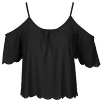 Scallop Bardot Top - Black