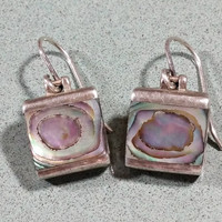 Abalone Shell Paua Sterling Silver Dangle Earrings with Hooks Squares Great colors Pinks Greens Blues Natural Shell Earrings