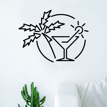 Martini Sunset Wall Decal Decor Art Sticker Vinyl Room Bedroom Inspirational Home Beach Tropical Travel