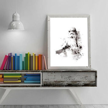 Stormtrooper, Art Print, Watercolor, Star Wars Poster, Birthday Gift, Trooper, imperial, Star Wars Gift, Black And White, Movie, Download