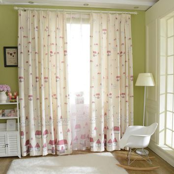 Polyester Cartoon Design Printing Blackout Fabric Window Curtain For Child Room