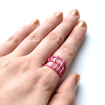 cage ring powdercoated in pink handmade in Limoilou, Quebec City, SALE 50%,simple comfortable jewellery in bright colours