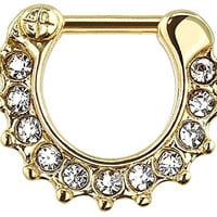 Gem Paved Color IP Gold 316L Surgical Steel Septum Clicker Ring