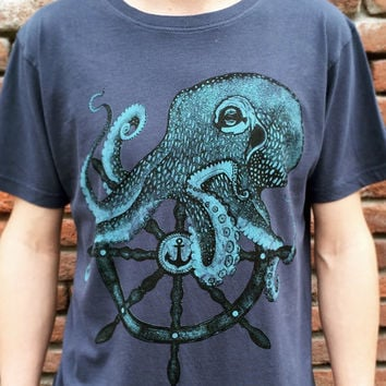 Octopus t-shirt for men. Sailor style handmade design. Screenprinting on cotton tee. Color denim blue vintage style.