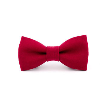 Dog Bow Tie in Christmas Red Linen, Limited Edition