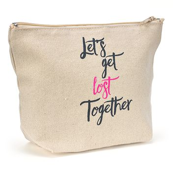 Canvas Zipper Makeup Bag - Let's Get Lost Together