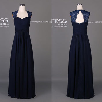 Simple Navy Blue A Line Long Bridesmaid Dress/Navy Long Floor Length Prom Dress/Navy Long Prom Dress/Navy Prom Dress/Party Dress DH477