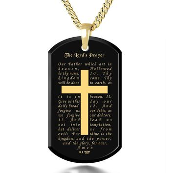 """""""The Lord's Prayer"""" KJ Version, 24k Gold Plated Necklace, Onyx"""